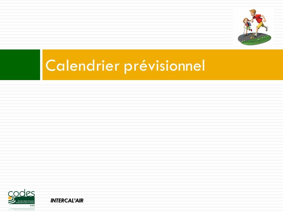 INTERCALAIR Calendrier prévisionnel