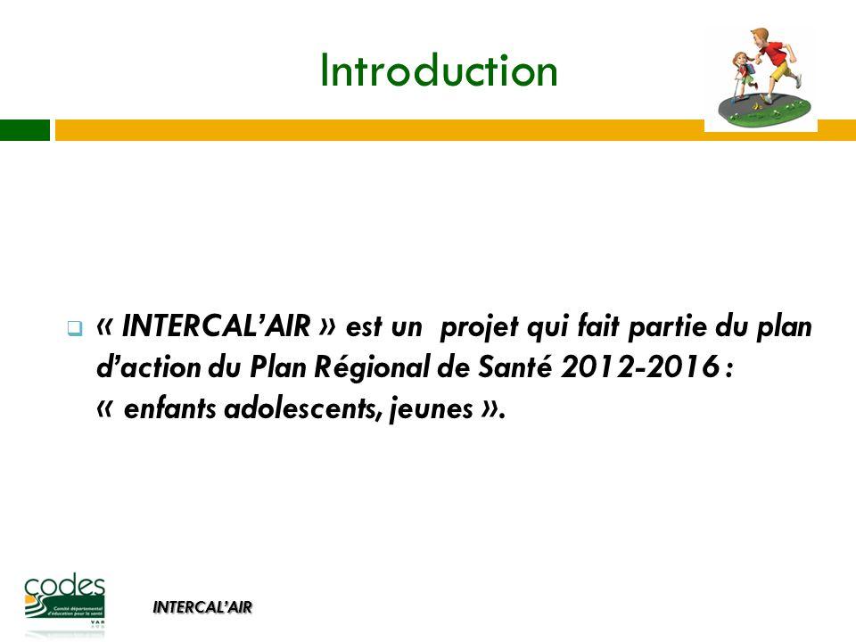 INTERCALAIR Introduction « INTERCALAIR » est un projet qui fait partie du plan daction du Plan Régional de Santé 2012-2016 : « enfants adolescents, jeunes ».