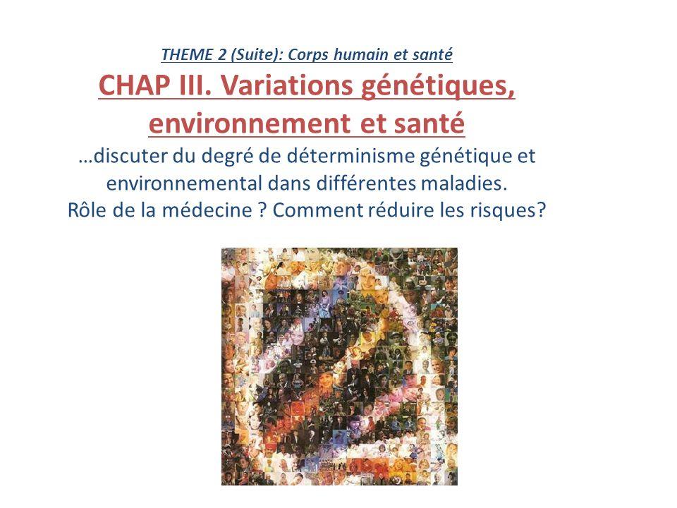 THEME 2 (Suite): Corps humain et santé CHAP III. Variations génétiques, environnement et santé …discuter du degré de déterminisme génétique et environ