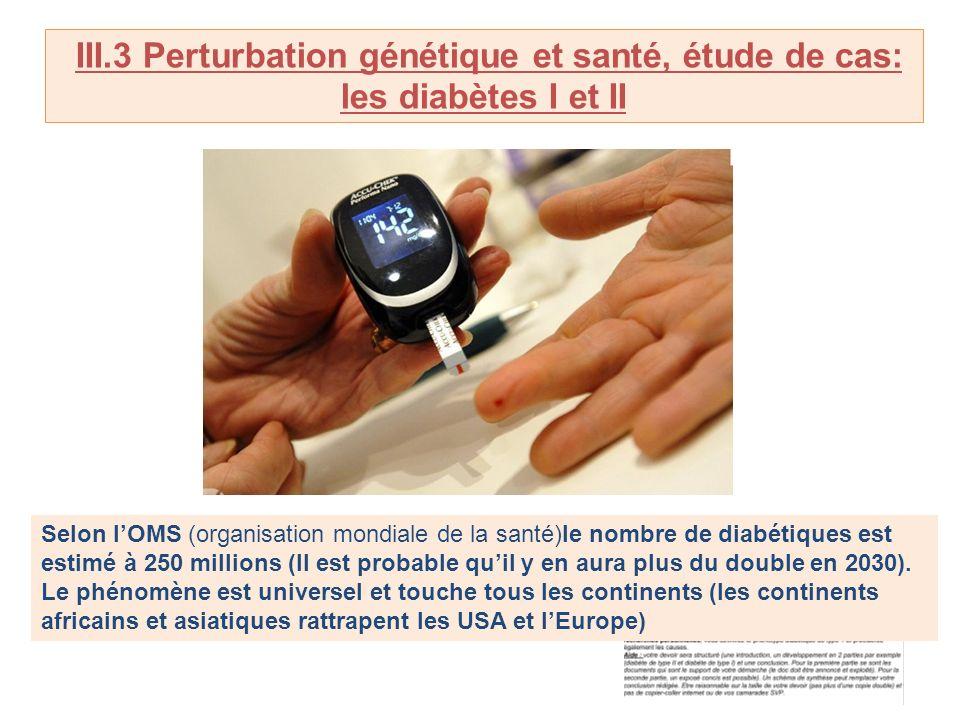 III.3 Perturbation génétique et santé, étude de cas: les diabètes I et II Selon lOMS (organisation mondiale de la santé)le nombre de diabétiques est e