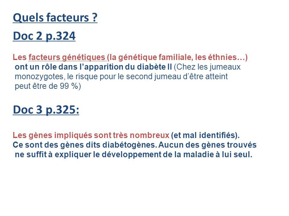 Quels facteurs ? Doc 2 p.324 Doc 3 p.325: Les facteurs génétiques (la génétique familiale, les éthnies…) ont un rôle dans lapparition du diabète II (C
