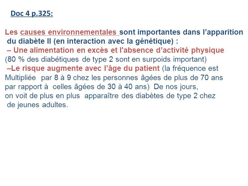 Doc 4 p.325: Les causes environnementales sont importantes dans lapparition du diabète II (en interaction avec la génétique) : – Une alimentation en e