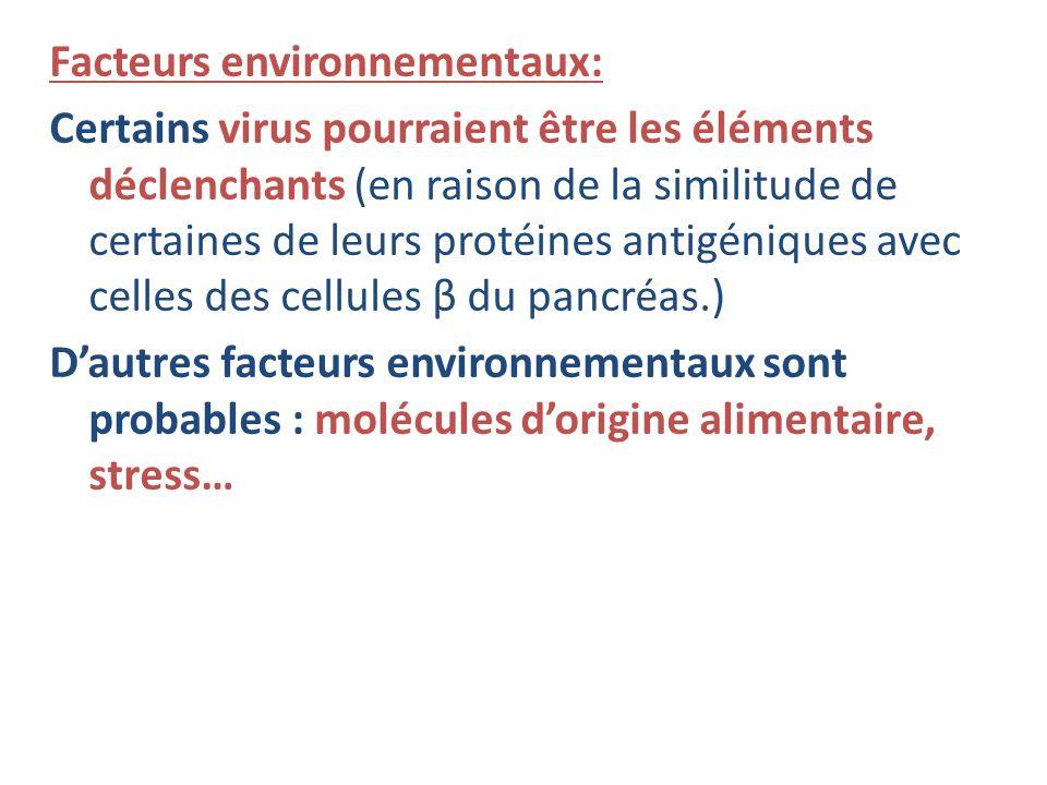 Facteurs environnementaux: Certains virus pourraient être les éléments déclenchants (en raison de la similitude de certaines de leurs protéines antigé