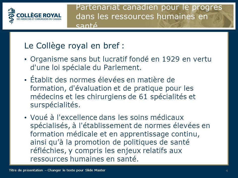 Titre de pr é sentation – Changer le texte pour Slide Master Partenariat canadien pour le progrès dans les ressources humaines en santé Où en étions-nous.