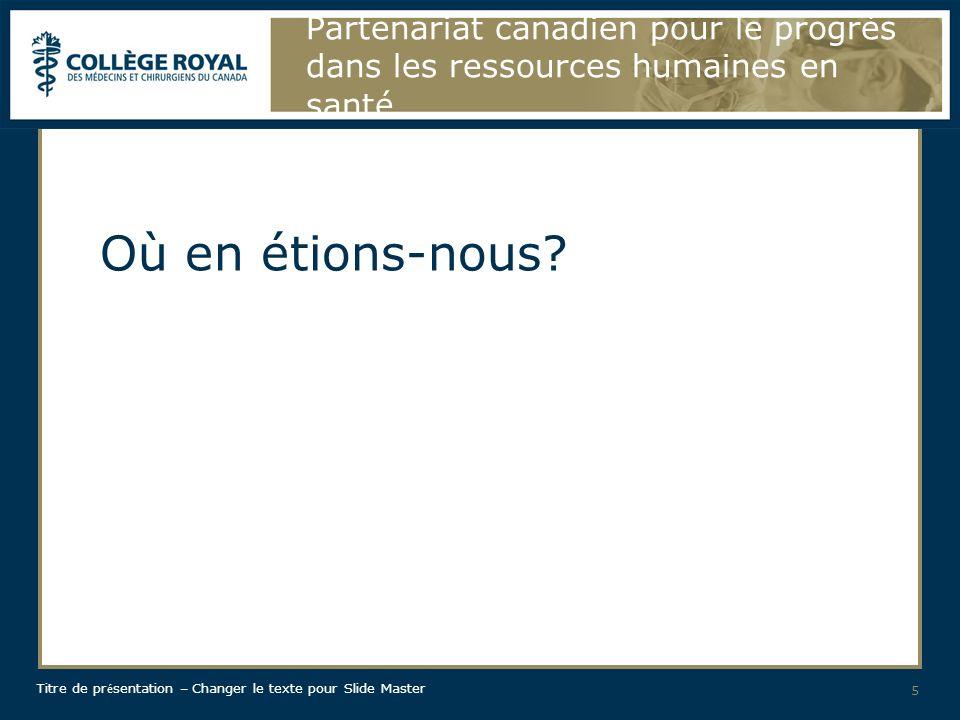 Titre de pr é sentation – Changer le texte pour Slide Master Partenariat canadien pour pour le progrès dans les ressources humaines en santé Quels sont les résultats obtenus jusqu à présent.