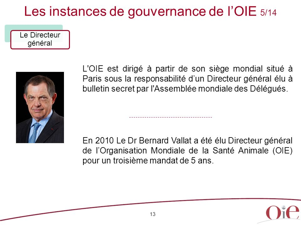 Les instances de gouvernance de lOIE 5/14 13 Le Directeur général L OIE est dirigé à partir de son siège mondial situé à Paris sous la responsabilité dun Directeur général élu à bulletin secret par l Assemblée mondiale des Délégués.