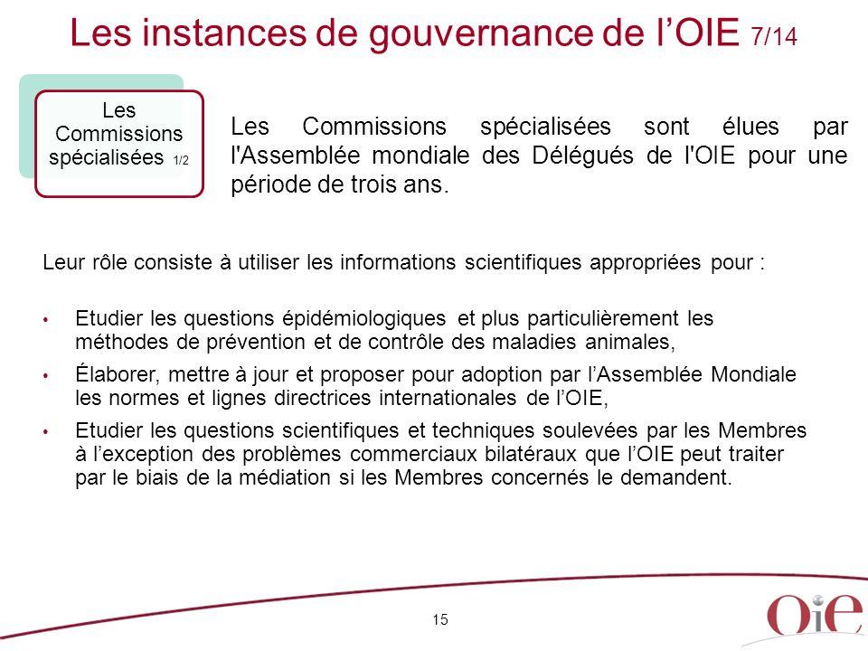 Les instances de gouvernance de lOIE 7/14 15 Les Commissions spécialisées 1/2 Leur rôle consiste à utiliser les informations scientifiques appropriées
