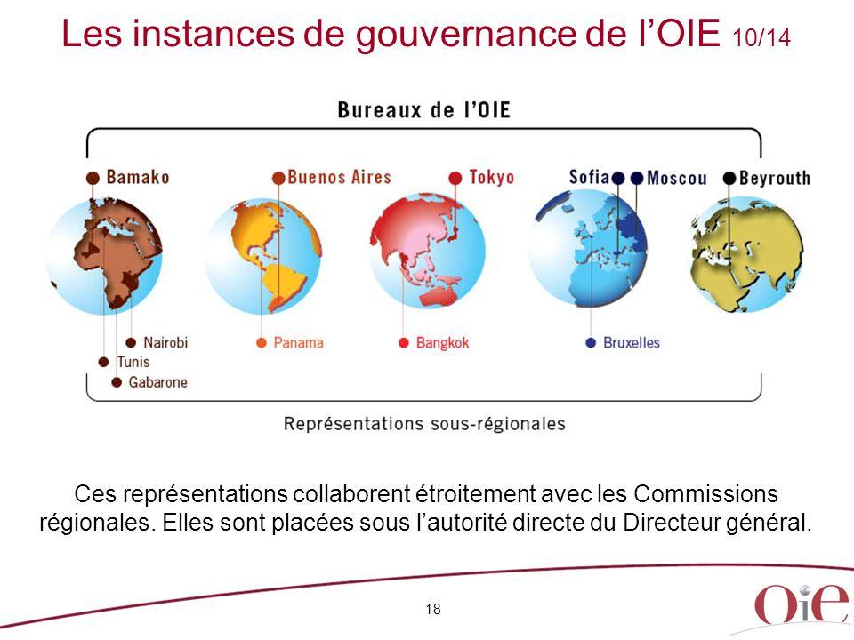 18 Ces représentations collaborent étroitement avec les Commissions régionales. Elles sont placées sous lautorité directe du Directeur général. Les in