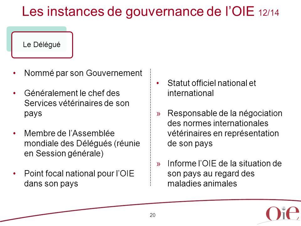 Les instances de gouvernance de lOIE 12/14 20 Nommé par son Gouvernement Généralement le chef des Services vétérinaires de son pays Membre de lAssembl