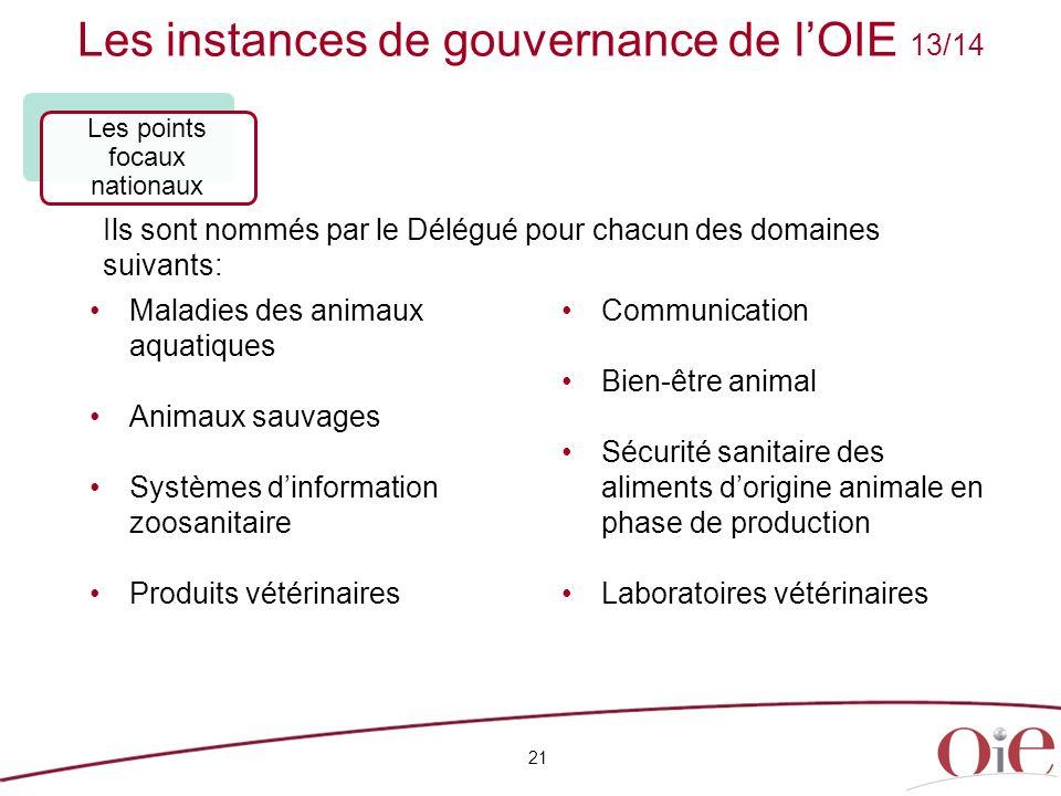 Les instances de gouvernance de lOIE 13/14 21 Maladies des animaux aquatiques Animaux sauvages Systèmes dinformation zoosanitaire Produits vétérinaire