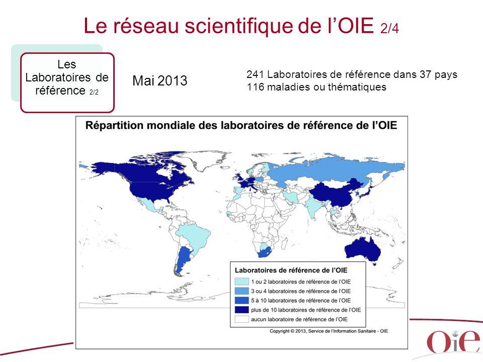 24 241 Laboratoires de référence dans 37 pays 116 maladies ou thématiques Le réseau scientifique de lOIE 2/4 Les Laboratoires de référence 2/2 Mai 2013