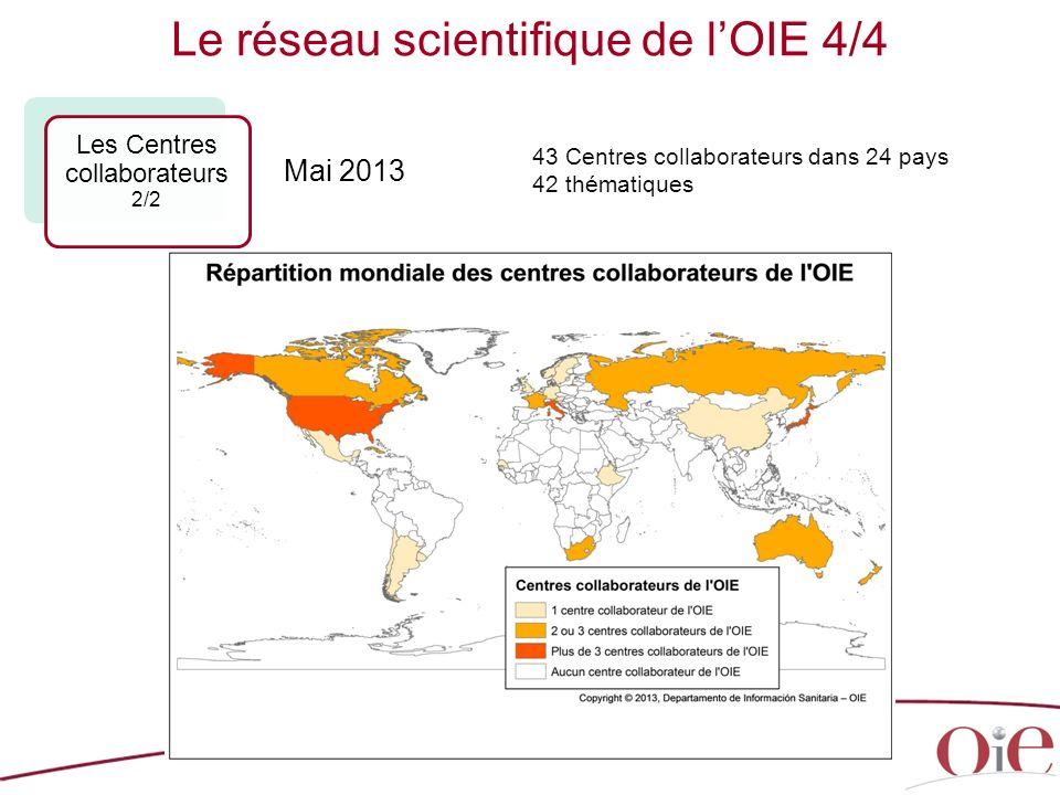 26 43 Centres collaborateurs dans 24 pays 42 thématiques Le réseau scientifique de lOIE 4/4 Les Centres collaborateurs 2/2 Mai 2013