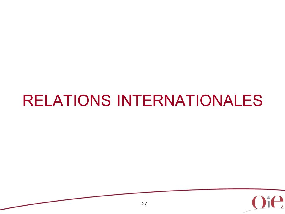 RELATIONS INTERNATIONALES 27