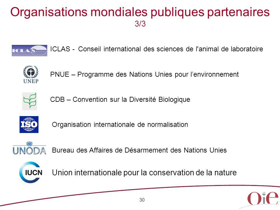 30 Organisations mondiales publiques partenaires 3/3 ICLAS -Conseil international des sciences de l'animal de laboratoire PNUE – Programme des Nations