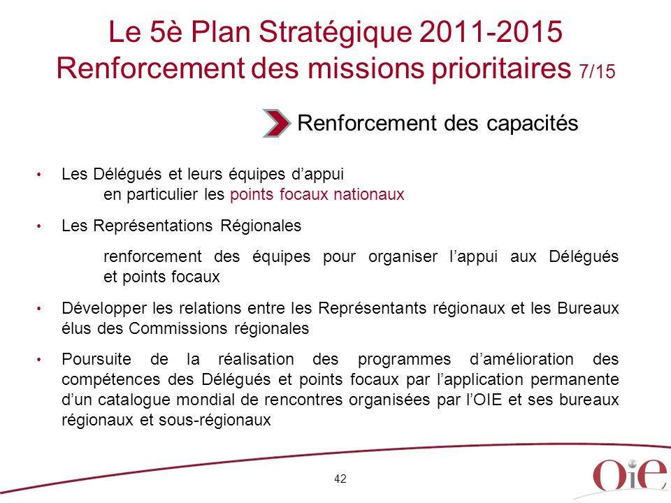 42 Le 5è Plan Stratégique 2011-2015 Renforcement des missions prioritaires 7/15 Les Délégués et leurs équipes dappui en particulier les points focaux