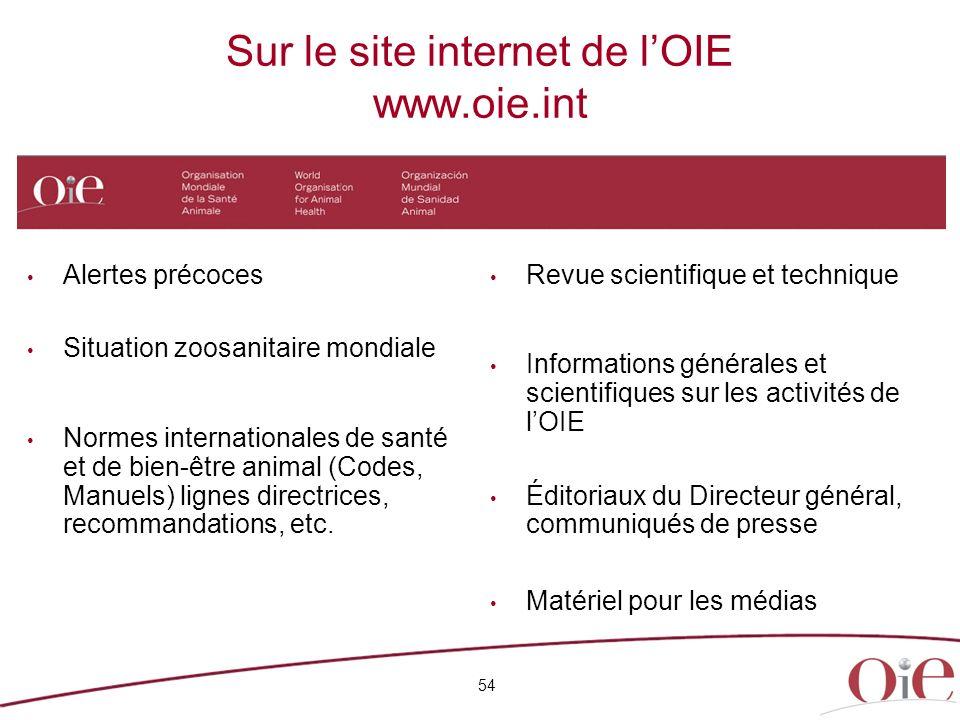 Sur le site internet de lOIE www.oie.int 54 Alertes précoces Situation zoosanitaire mondiale Normes internationales de santé et de bien-être animal (Codes, Manuels) lignes directrices, recommandations, etc.
