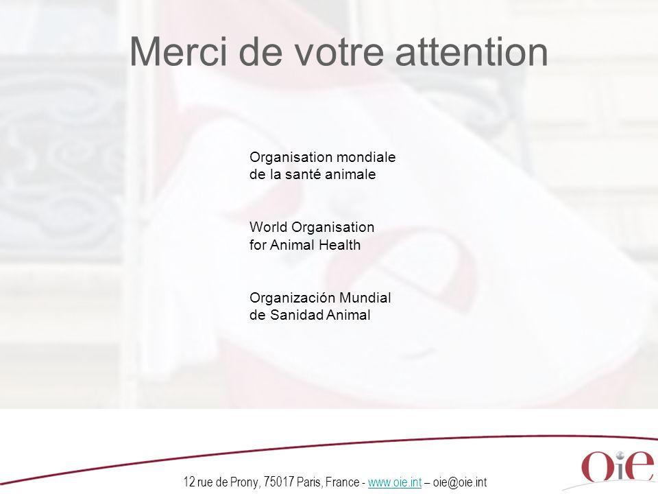12 rue de Prony, 75017 Paris, France - www.oie.int – oie@oie.intwww.oie.int Organisation mondiale de la santé animale World Organisation for Animal Health Organización Mundial de Sanidad Animal Merci de votre attention