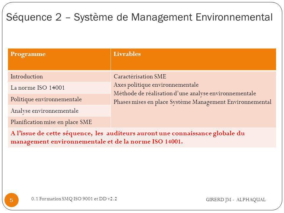 Séquence 2 – Système de Management Environnemental GIRERD JM - ALPHAQUAL 0.1 Formation SMQ ISO 9001 et DD v2.2 5 ProgrammeLivrables IntroductionCaractérisation SME Axes politique environnementale Méthode de réalisation dune analyse environnementale Phases mises en place Système Management Environnemental La norme ISO 14001 Politique environnementale Analyse environnementale Planification mise en place SME A lissue de cette séquence, les auditeurs auront une connaissance globale du management environnementale et de la norme ISO 14001.