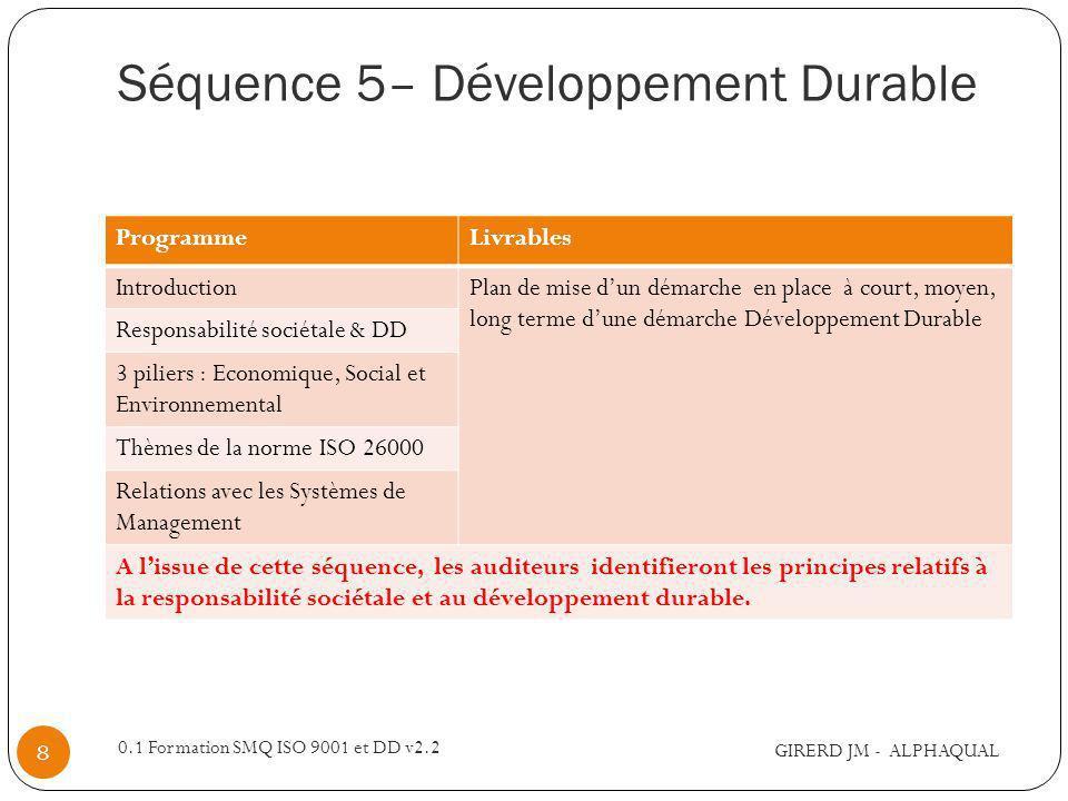 Séquence 5– Développement Durable GIRERD JM - ALPHAQUAL 0.1 Formation SMQ ISO 9001 et DD v2.2 8 ProgrammeLivrables IntroductionPlan de mise dun démarc