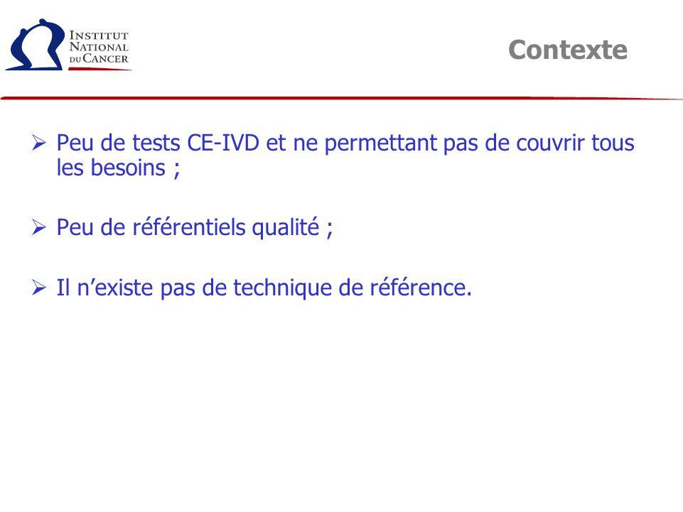 Peu de tests CE-IVD et ne permettant pas de couvrir tous les besoins ; Peu de référentiels qualité ; Il nexiste pas de technique de référence. Context