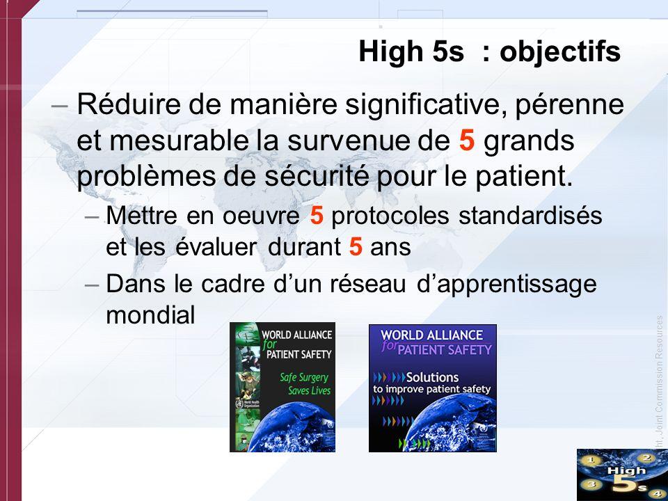 © Copyright, Joint Commission Resources High 5s : objectifs –Réduire de manière significative, pérenne et mesurable la survenue de 5 grands problèmes de sécurité pour le patient.