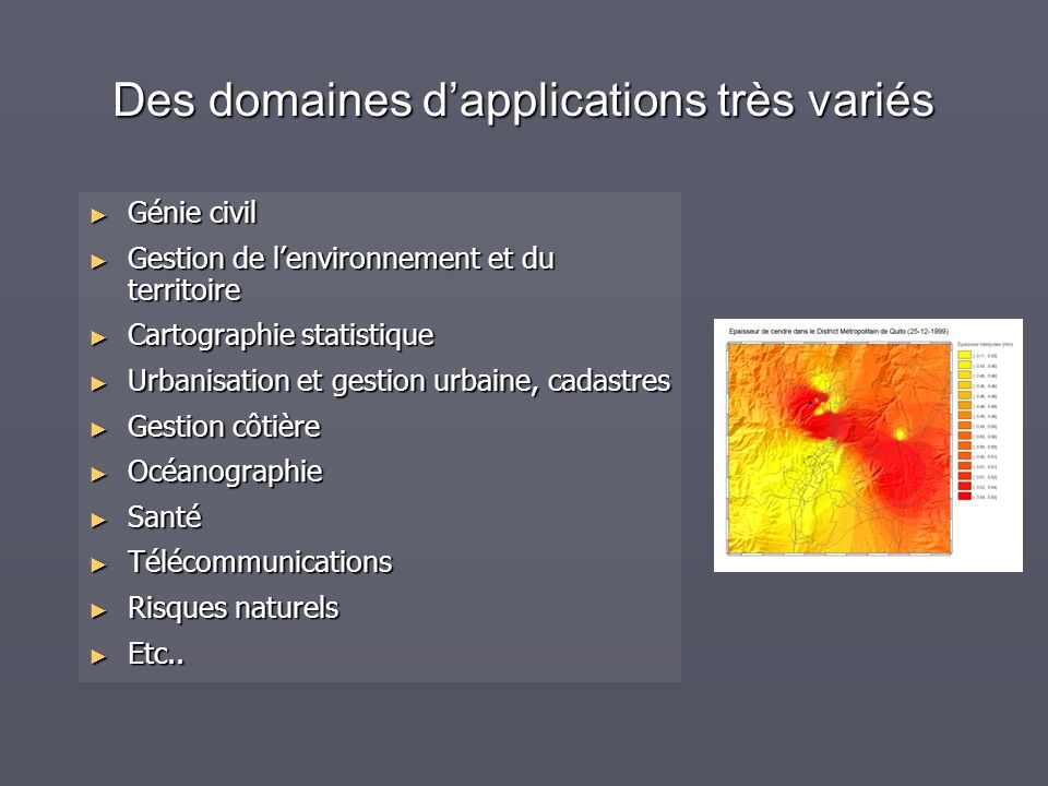 Des domaines dapplications très variés Génie civil Génie civil Gestion de lenvironnement et du territoire Gestion de lenvironnement et du territoire C