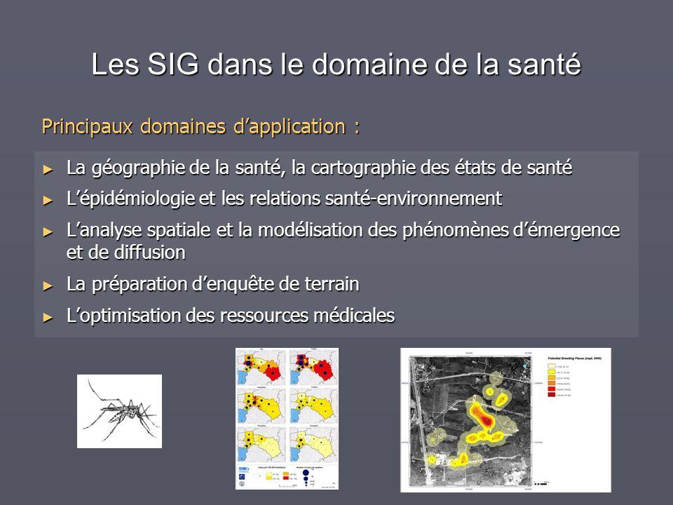 Les SIG dans le domaine de la santé La géographie de la santé, la cartographie des états de santé La géographie de la santé, la cartographie des états