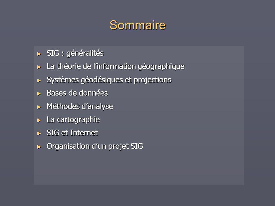 Sommaire SIG : généralités SIG : généralités La théorie de linformation géographique La théorie de linformation géographique Systèmes géodésiques et p