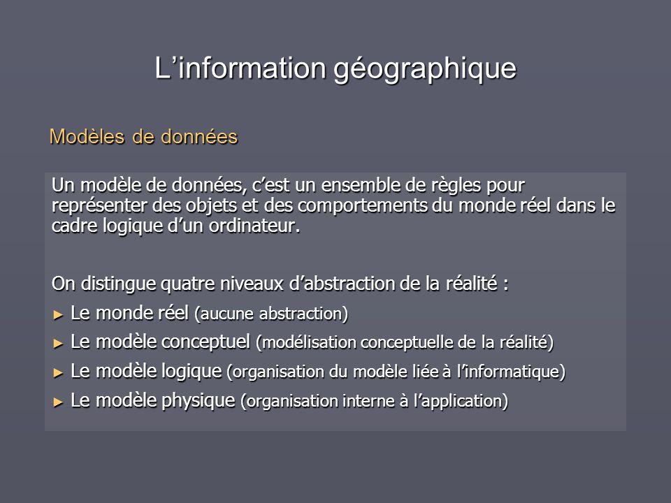 Linformation géographique Un modèle de données, cest un ensemble de règles pour représenter des objets et des comportements du monde réel dans le cadr