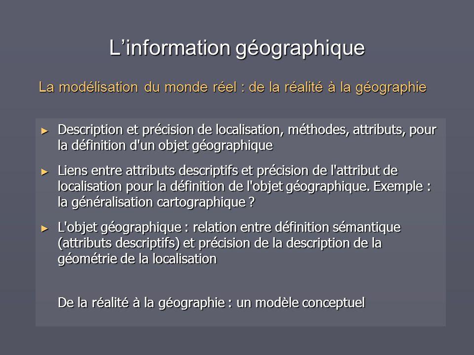 Linformation géographique Description et précision de localisation, méthodes, attributs, pour la définition d'un objet géographique Description et pré