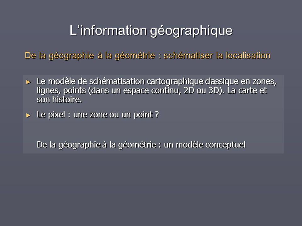 Linformation géographique Le modèle de schématisation cartographique classique en zones, lignes, points (dans un espace continu, 2D ou 3D). La carte e