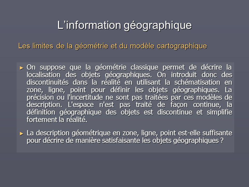 Linformation géographique On suppose que la géométrie classique permet de décrire la localisation des objets géographiques. On introduit donc des disc