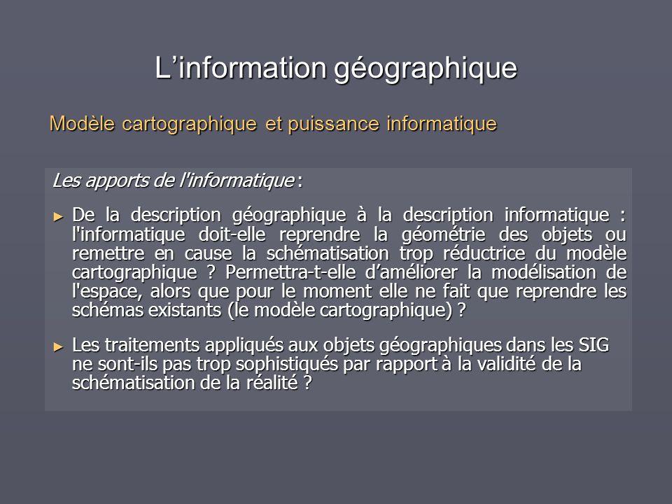 Linformation géographique Les apports de l'informatique : De la description géographique à la description informatique : l'informatique doit-elle repr