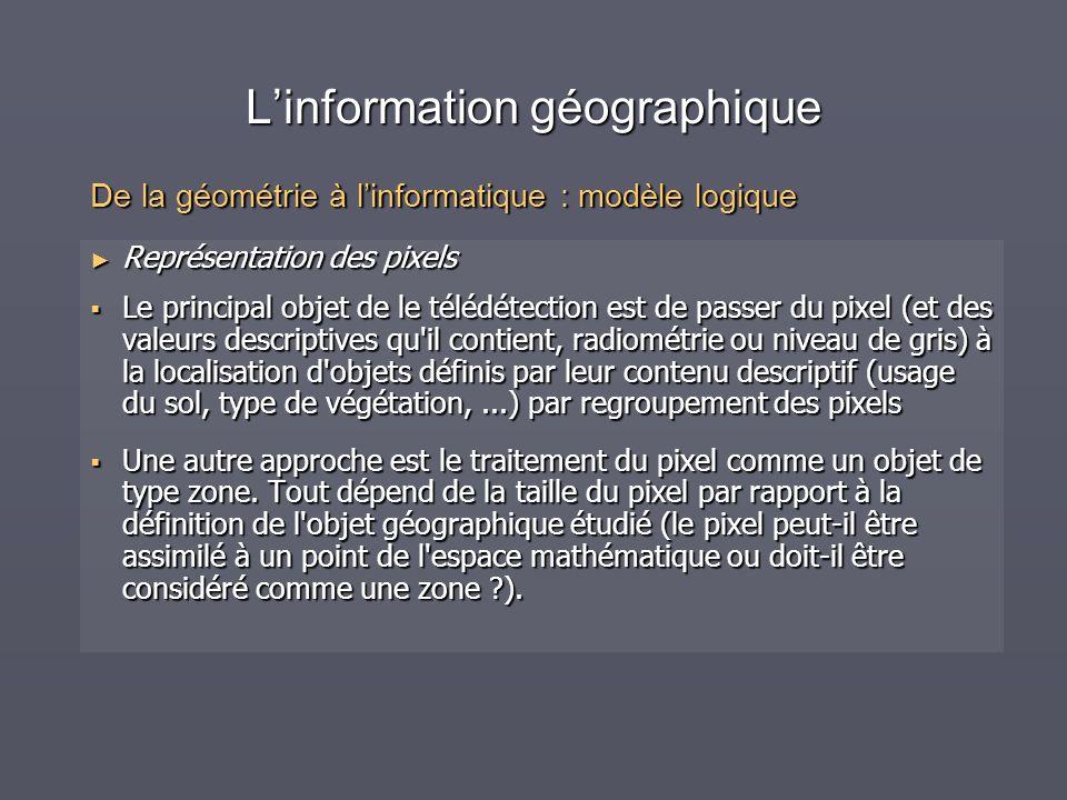 Linformation géographique Représentation des pixels Représentation des pixels Le principal objet de le télédétection est de passer du pixel (et des va