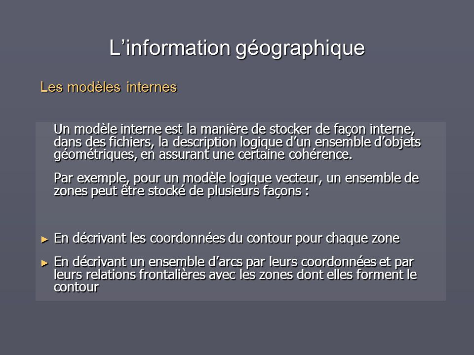 Linformation géographique Un modèle interne est la manière de stocker de façon interne, dans des fichiers, la description logique dun ensemble dobjets