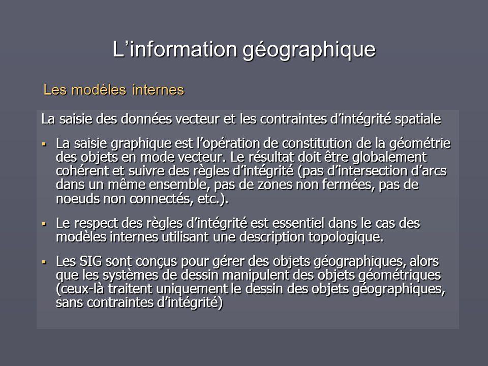 Linformation géographique La saisie des données vecteur et les contraintes dintégrité spatiale La saisie graphique est lopération de constitution de l