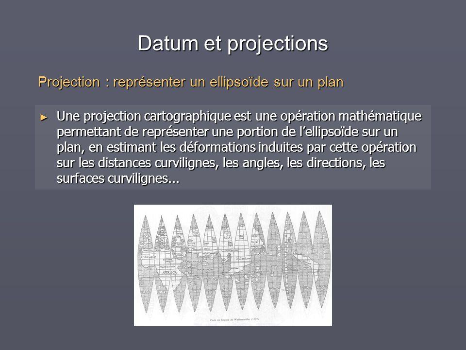 Datum et projections Une projection cartographique est une opération mathématique permettant de représenter une portion de lellipsoïde sur un plan, en
