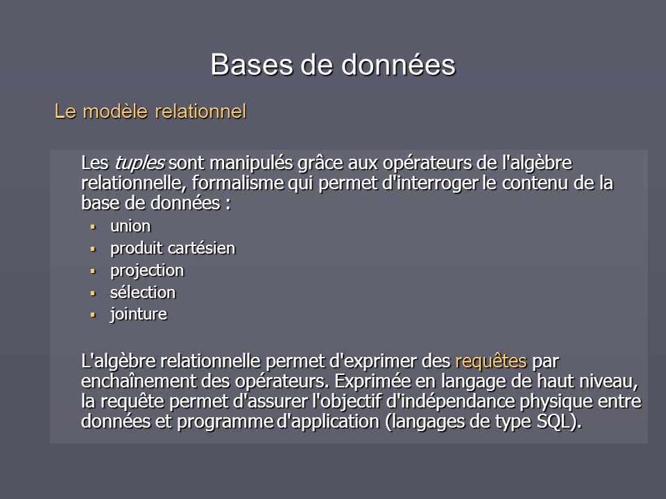 Bases de données Les tuples sont manipulés grâce aux opérateurs de l'algèbre relationnelle, formalisme qui permet d'interroger le contenu de la base d