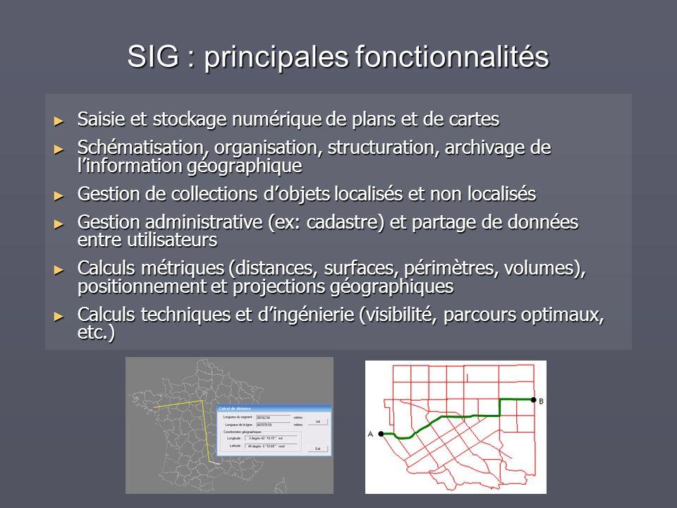 SIG : principales fonctionnalités Saisie et stockage numérique de plans et de cartes Saisie et stockage numérique de plans et de cartes Schématisation