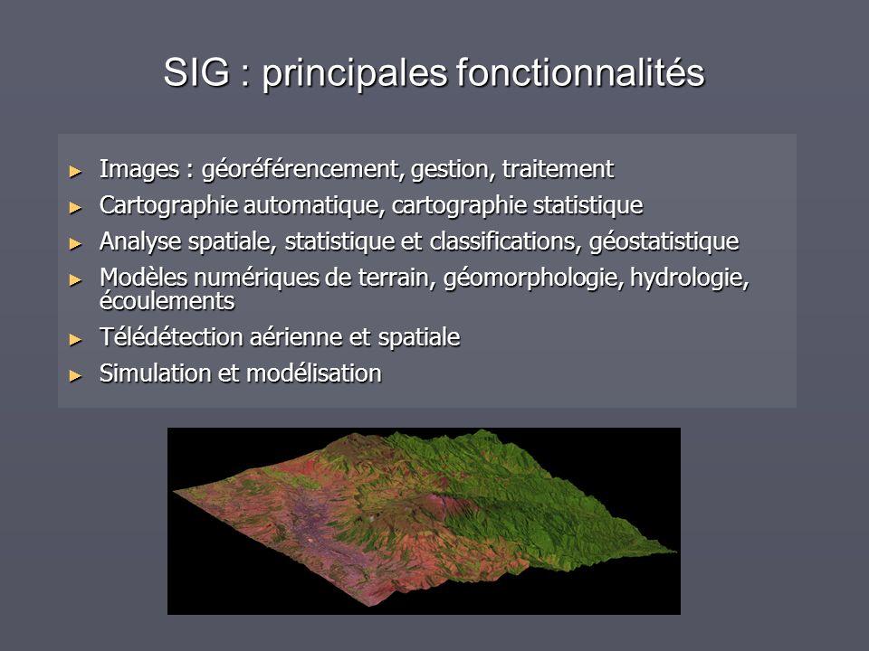 SIG : principales fonctionnalités Images : géoréférencement, gestion, traitement Images : géoréférencement, gestion, traitement Cartographie automatiq