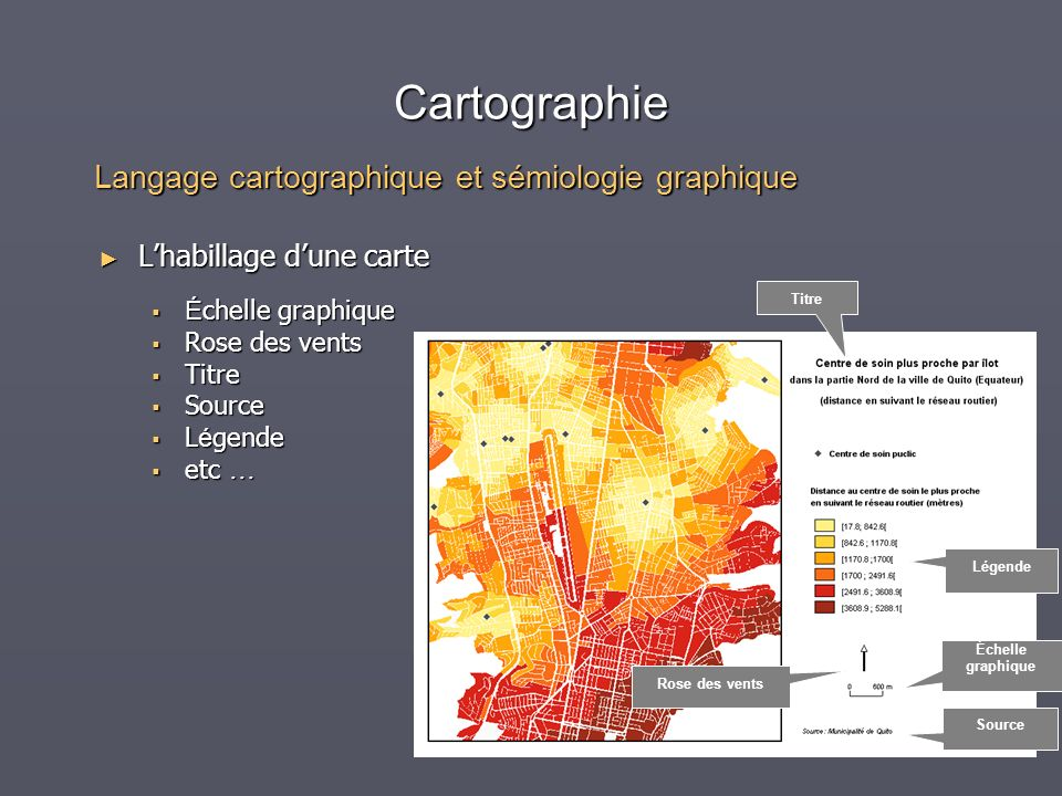 Cartographie Lhabillage dune carte Lhabillage dune carte É chelle graphique É chelle graphique Rose des vents Rose des vents Titre Titre Source Source