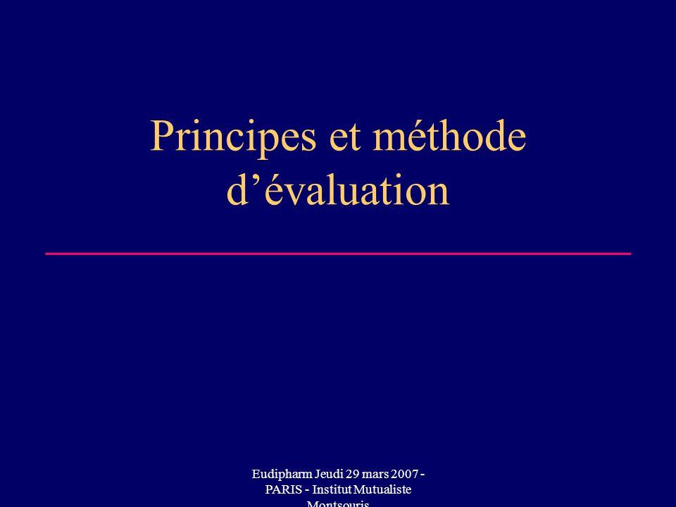 Eudipharm Jeudi 29 mars 2007 - PARIS - Institut Mutualiste Montsouris Principes et méthode dévaluation