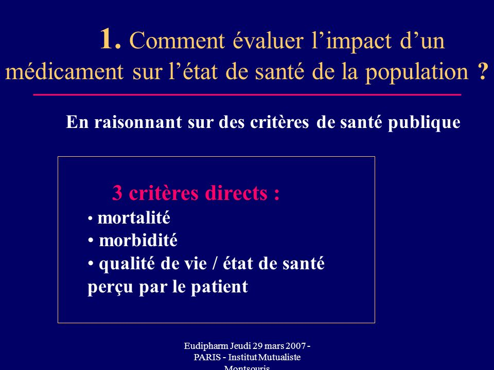 Eudipharm Jeudi 29 mars 2007 - PARIS - Institut Mutualiste Montsouris 1. Comment évaluer limpact dun médicament sur létat de santé de la population ?