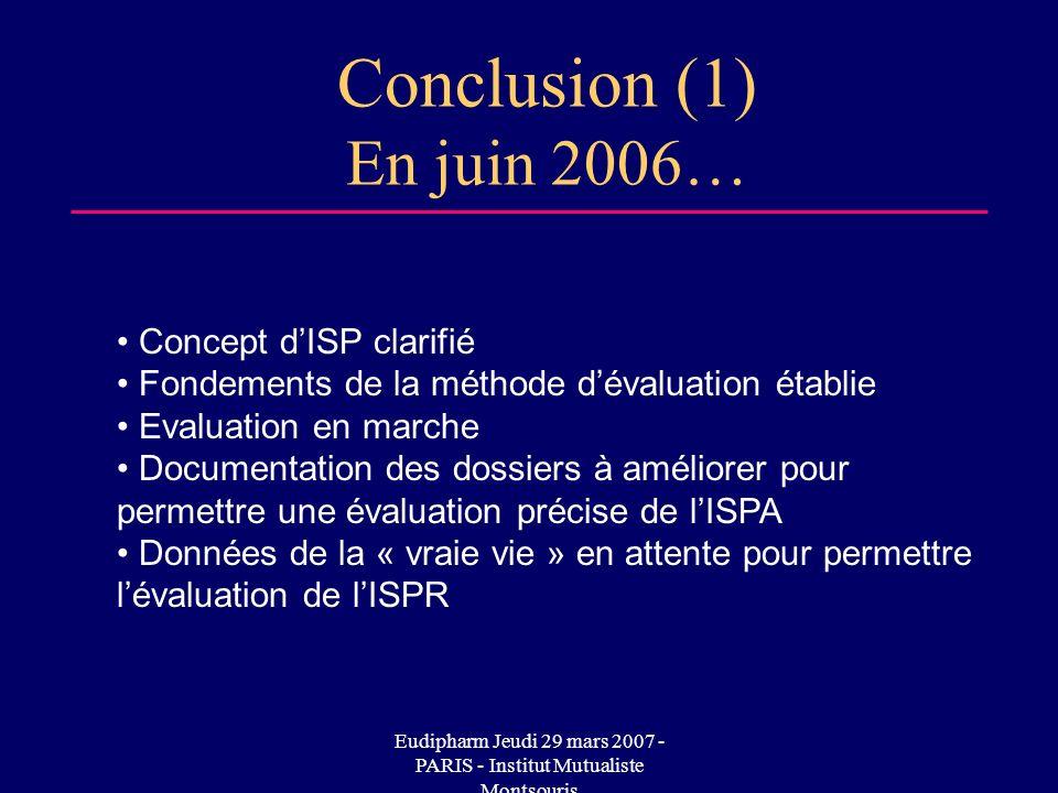 Eudipharm Jeudi 29 mars 2007 - PARIS - Institut Mutualiste Montsouris Conclusion (1) En juin 2006… Concept dISP clarifié Fondements de la méthode déva