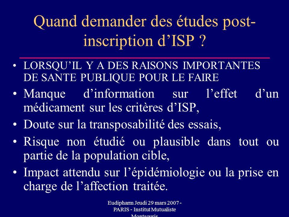 Eudipharm Jeudi 29 mars 2007 - PARIS - Institut Mutualiste Montsouris Quand demander des études post- inscription dISP ? LORSQUIL Y A DES RAISONS IMPO