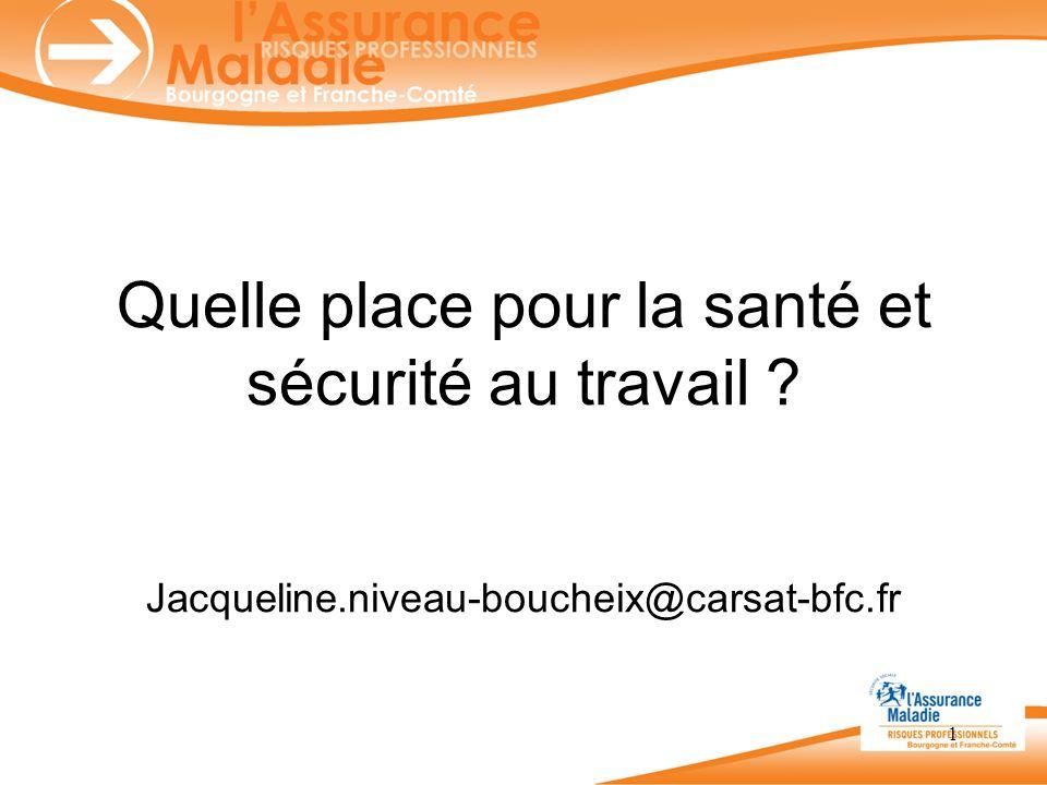 Quelle place pour la santé et sécurité au travail ? Jacqueline.niveau-boucheix@carsat-bfc.fr 1