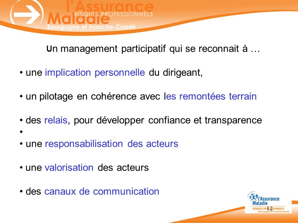 12 U n management participatif qui se reconnait à … une implication personnelle du dirigeant, un pilotage en cohérence avec les remontées terrain des