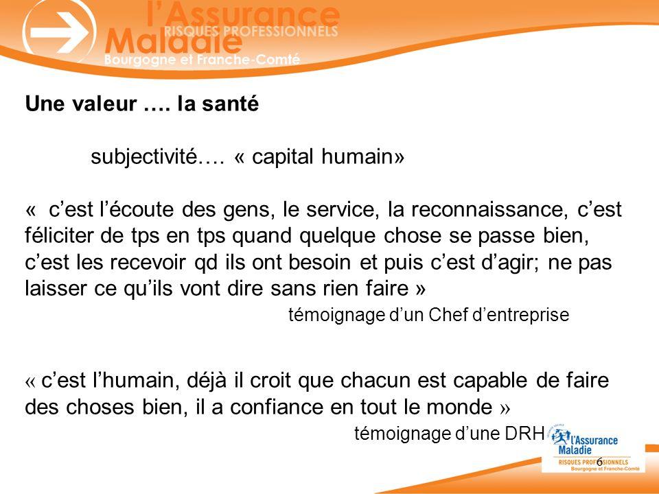 6 Une valeur …. la santé subjectivité…. « capital humain» « cest lécoute des gens, le service, la reconnaissance, cest féliciter de tps en tps quand q