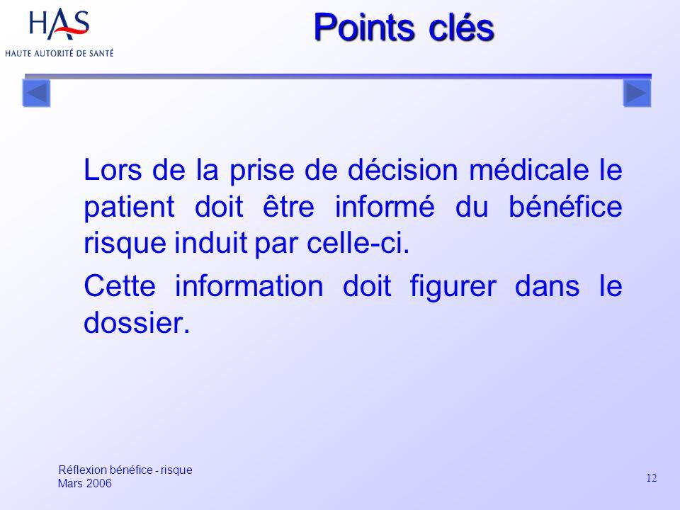 12 Points clés Lors de la prise de décision médicale le patient doit être informé du bénéfice risque induit par celle-ci. Cette information doit figur