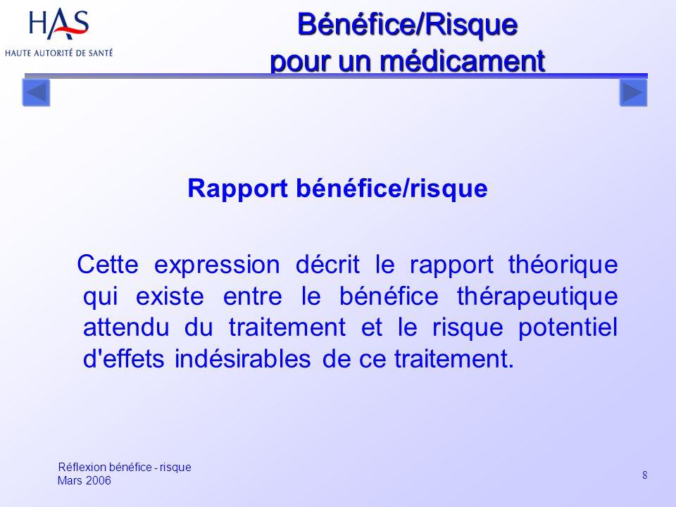 8 Rapport bénéfice/risque Cette expression décrit le rapport théorique qui existe entre le bénéfice thérapeutique attendu du traitement et le risque p